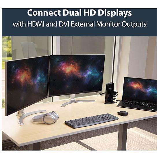 DVI StarTech.com Station d'accueil USB 3.0 PC portable HDMI et DVI - Autre vue