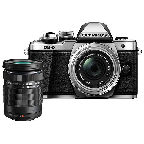 Appareil photo hybride Olympus OM-D E-M10 Mark II Silver + 14-42 EZ + 40-150 mm