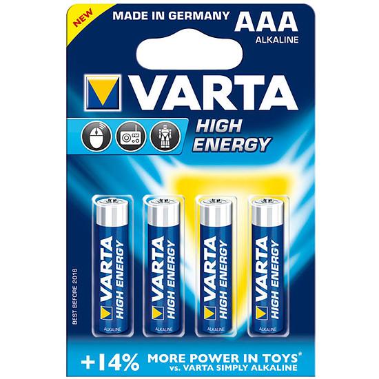 Pile et chargeur Varta Piles Alcaline High Energy AAA LR03 (par 4)