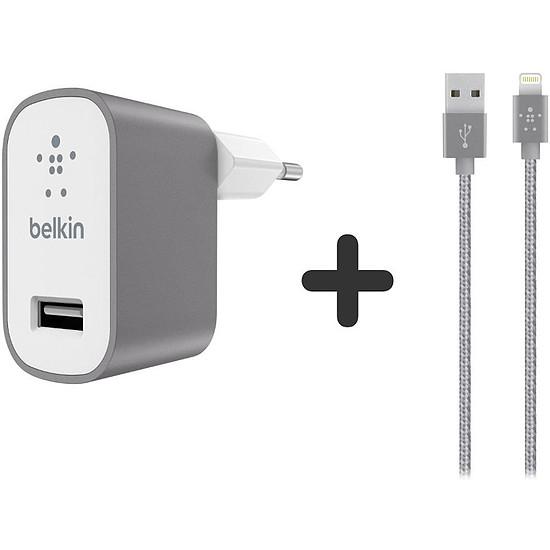 Chargeur Belkin Câble Lightning + chargeur secteur (Gris métal) - Autre vue