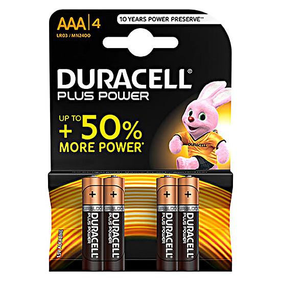 Pile et chargeur Duracell Piles Alcaline Plus Power AAA LR03 (par 4)