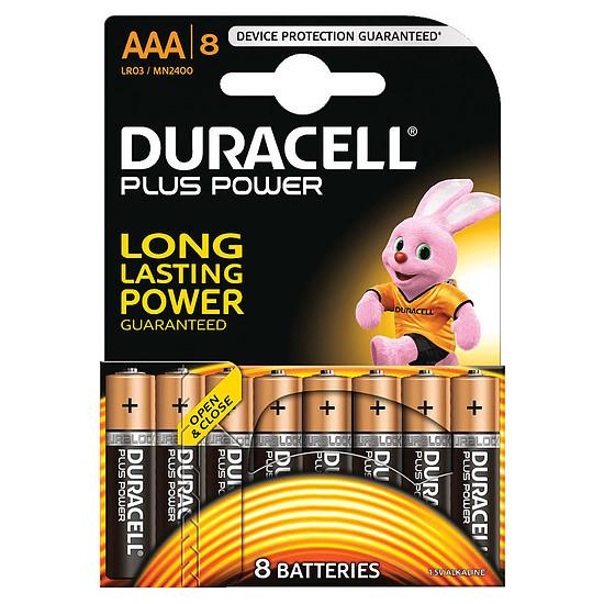 Pile et chargeur Duracell Piles Alcaline Plus Power AAA LR03 (par 8)