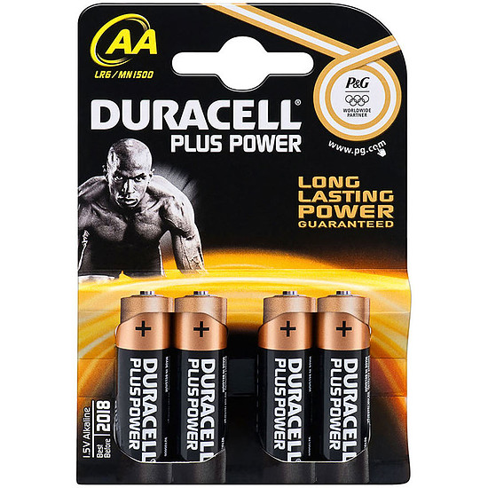 Pile et chargeur Duracell Piles Alcaline Plus Power AA LR06 (par 4)