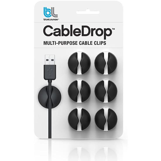 Passe câble et serre câble Bluelounge CableDrop Noir - Pack x6 - Autre vue