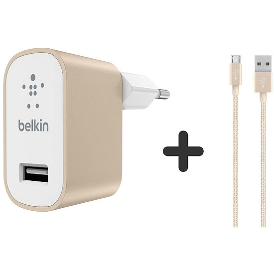 Chargeur Belkin Câble Micro USB + chargeur secteur (or)
