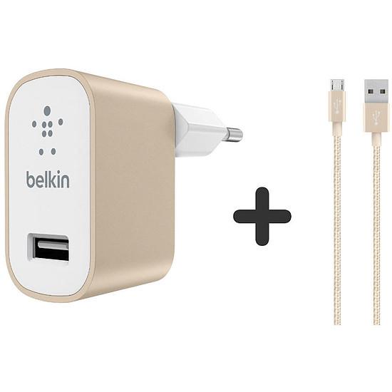 Chargeur Belkin Câble Micro USB + chargeur secteur (or)