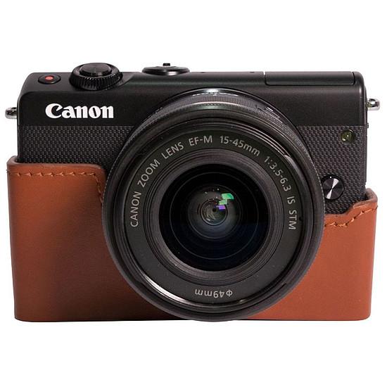 Appareil photo hybride Canon EOS M100 noir + EF-M 15-45 mm + Etui marron