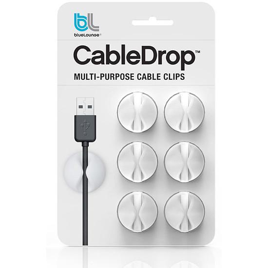 Passe câble et serre câble Bluelounge CableDrop Blanc - Pack x6