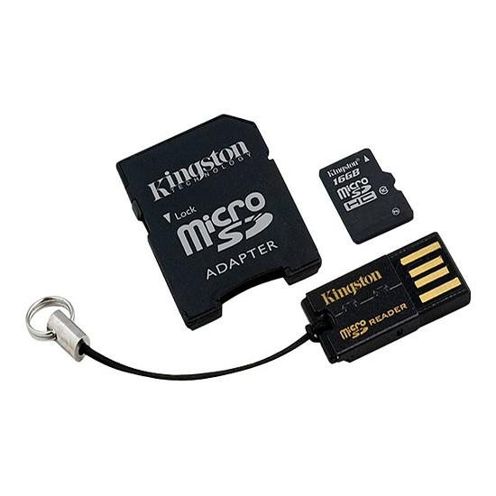 Carte mémoire Kingston microSDHC 16 Go + adaptateur SD et USB