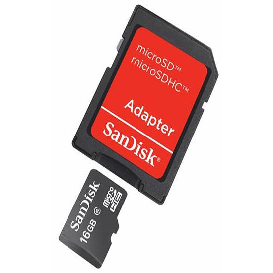 Carte mémoire SanDisk microSDHC 16 Go + Adaptateur SD