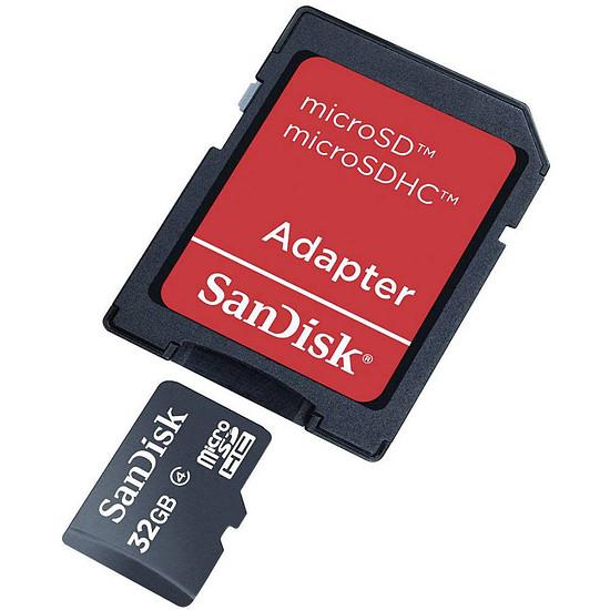 Carte mémoire SanDisk microSDHC 32 Go + Adaptateur SD