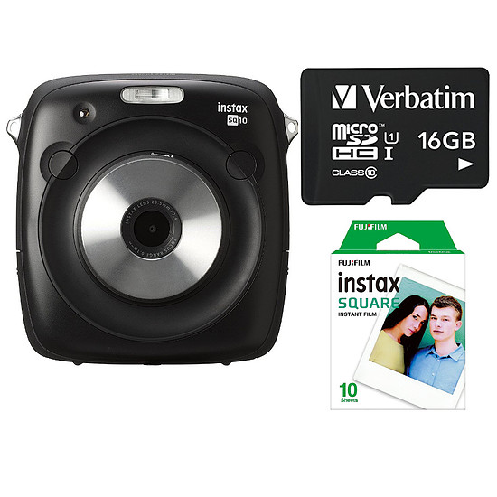 Appareil photo compact ou bridge Fujifilm Instax Square SQ10 + Carte microSD Verbatim 16 GO + Films Instax Square