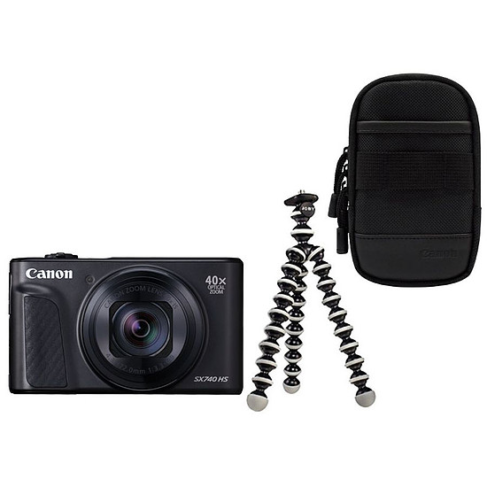 Appareil photo compact ou bridge Canon PowerShot SX740 HS Noir + Etui + Gorillapod