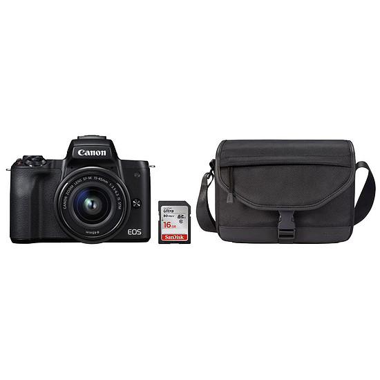 Appareil photo hybride Canon EOS M50 Noir + EF-M 15-45 mm IS STM Noir + Carte SD Sandisk 16 GO + Sacoche SB130