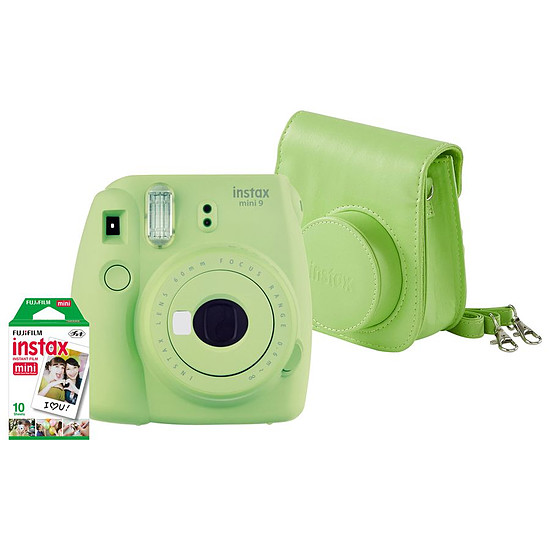 Appareil photo compact ou bridge Fujifilm Instax MINI 9 Vert + Housse + Films