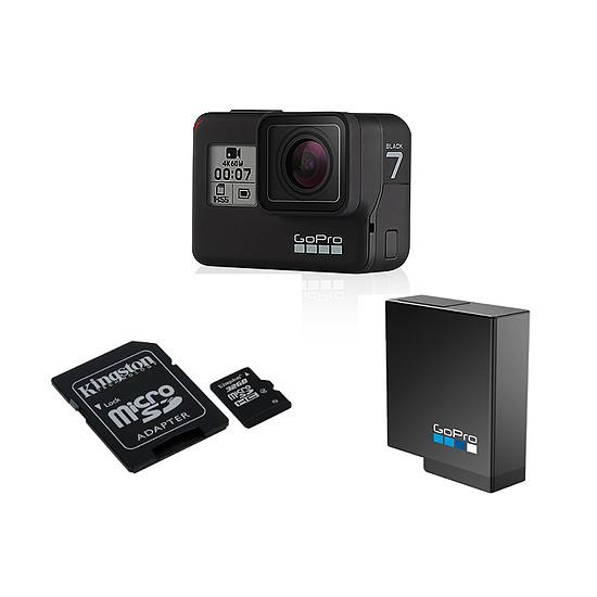Caméra sport GoPro Hero7 Black + Carte microSD Kingston 32 GO + Batterie GoPro Rechargeable
