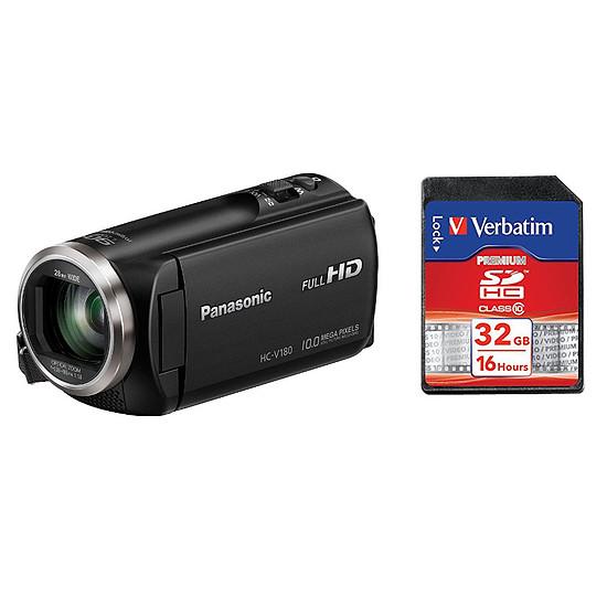 Caméscope Panasonic HC-V180EF-K + Carte SD Verbatim 32 GO