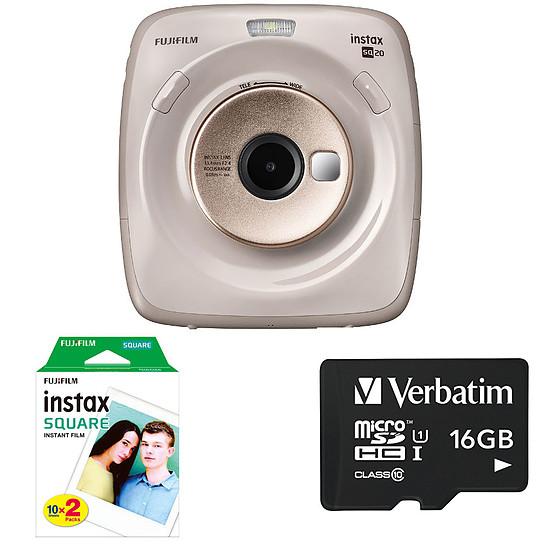 Appareil photo compact ou bridge Fujifilm instax Square SQ20 Beige + Carte microSD Verbatim 16 GO + Instax Square Bipack
