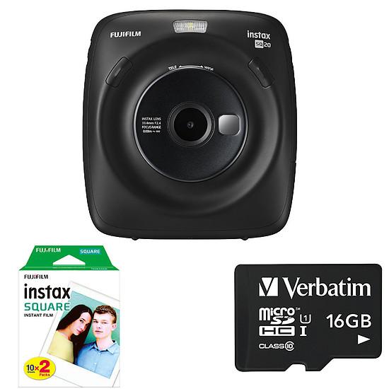 Appareil photo compact ou bridge Fujifilm instax Square SQ20 Noir + Carte microSD Verbatim 16 GO + Instax Bipack Square