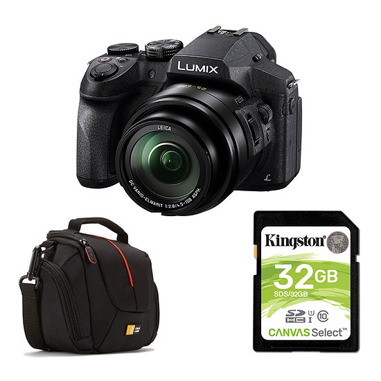 Appareil photo compact ou bridge Panasonic Lumix DMC-FZ300 + Carte SD Kingston 32 GO + Caselogic DCB-304