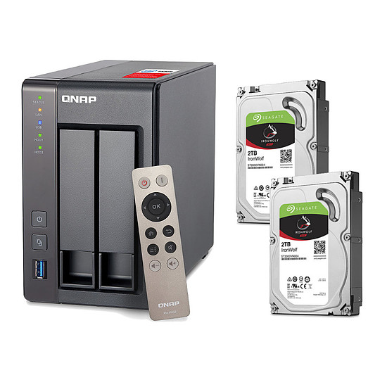 Serveur NAS QNAP NAS TS-251+ - 2 Go + Pack de 2 Seagate IronWolf - 2 To