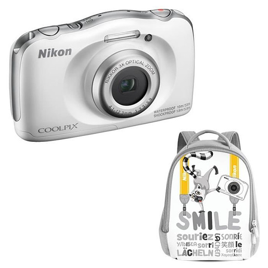Appareil photo compact ou bridge Nikon Coolpix W100 Blanc + sac à dos