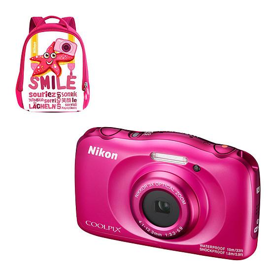 Appareil photo compact ou bridge Nikon Coolpix W100 Rose + Sac à dos