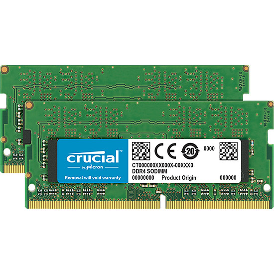 Mémoire Crucial 32 Go (2 x 16 Go) DDR4 2666 MHz CL19 DR SO-DIMM