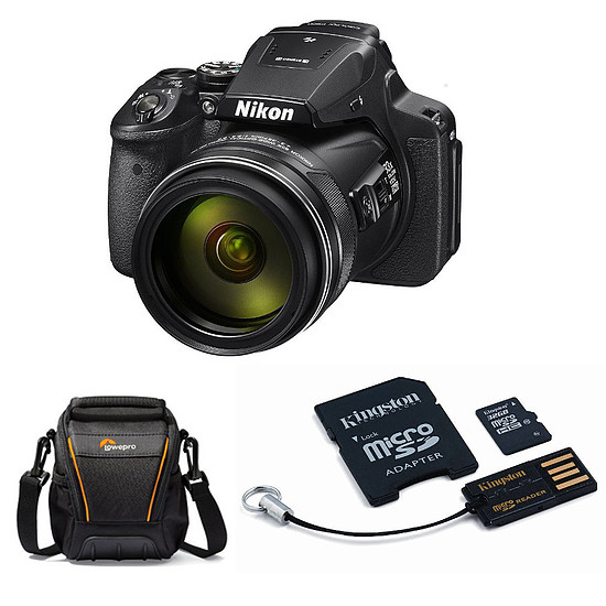 Appareil photo compact ou bridge Nikon Coolpix P900 Noir + Carte microSDHC 32 GO Kingston + adaptateur SD et USB + Lowepro Adventura SH 100 II