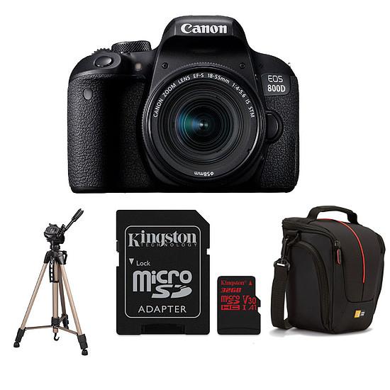 Appareil photo Reflex Canon EOS 800D + 18-55 IS STM + Carte microSD Kingston 32 GO avec adaptateur + Caselogic DCB-306 + Hama Star 61