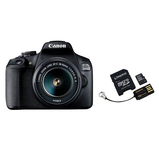 Appareil photo Reflex Canon EOS 2000D + 18-55mm IS Noir + Carte microSD Kingston 16 GO avec adaptateur et USB