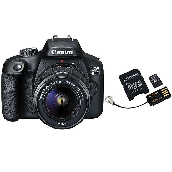 Appareil photo Reflex Canon EOS 4000D + 18-55mm IS Noir + Carte microSD Kingston 16 GO + Adaptateur SD et USB