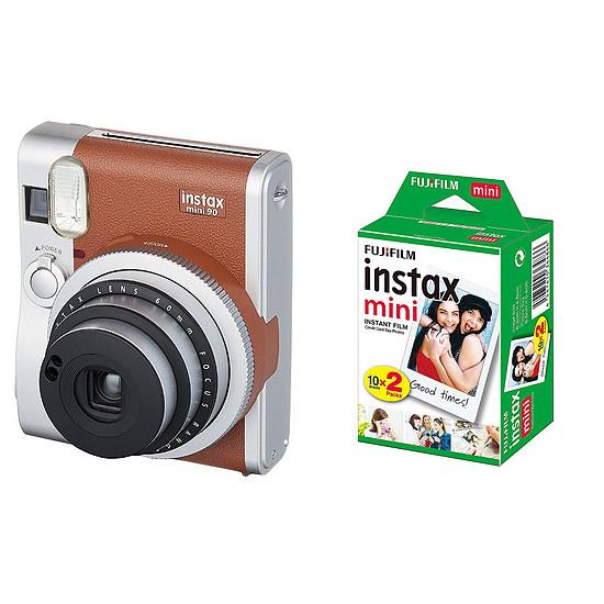 Appareil photo compact ou bridge Fujifilm Instax MINI 90 Neo Classic Marron + Film Instax Mini Bipack