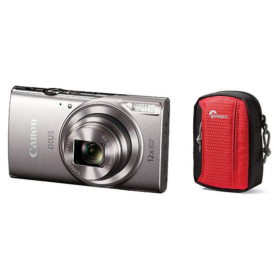 Appareil photo compact ou bridge Canon Ixus 285 HS Argent + Lowepro Tahoe 15 II Rouge