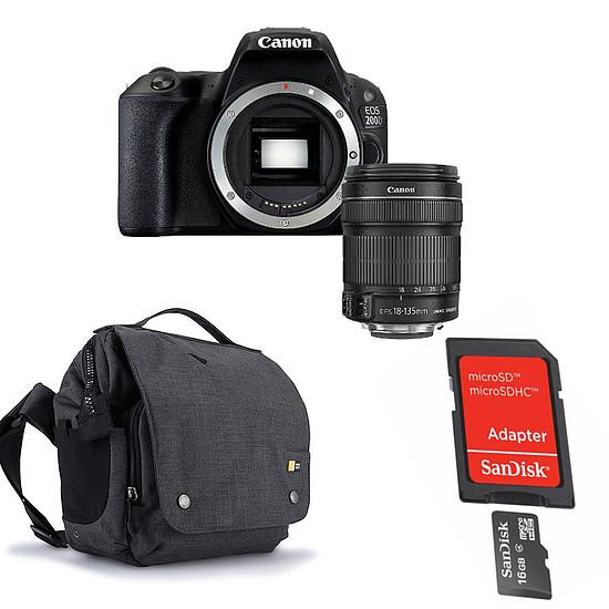 Appareil photo Reflex Canon EOS 200D + 18-135 IS STM + Carte microSD Sandisk 16 GO avec adaptateur SD + Caselogic FLXM 101 Antharcite