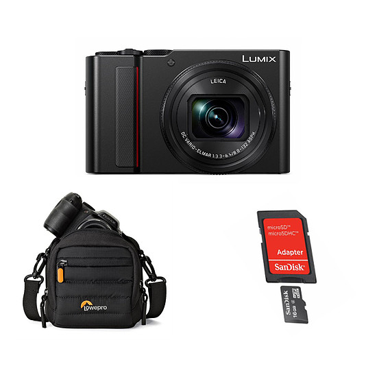 Appareil photo compact ou bridge Panasonic DC-TZ200EF-K Noir + Carte microSD Sandisk 16 GO + Lowepro CS 80 Noir