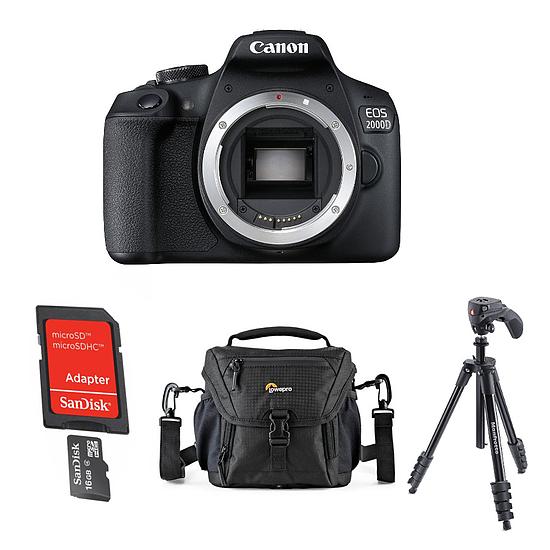 Appareil photo Reflex Canon EOS 2000D Noir (boitier nu) + Carte microSD Sandisk 16 GO avec adaptateur SD + Trépied Manfrotto Compact Action Noir + Lowepro Nova 140 AW II