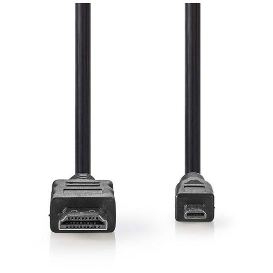 HDMI NEDIS Câble Micro HDMI mâle / HDMI mâle haute vitesse avec Ethernet Noir (2 mètres)