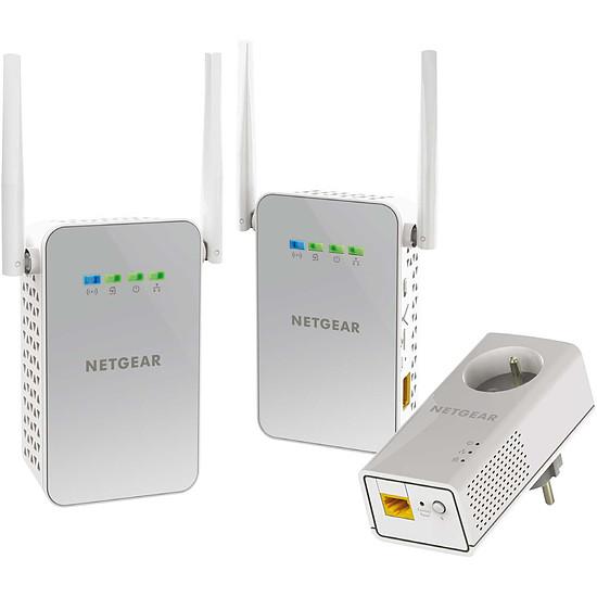 CPL Netgear PLPW1000T - Pack de 1 CPL 1000 (prise intégrée) + 2 adaptateurs Wifi AC1000 (prise intégrée)