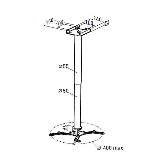 Support vidéoprojecteur Erard Pro Support plafond universel avec rallonge emboitable  et passage de câbles Blanc 717262 - Autre vue