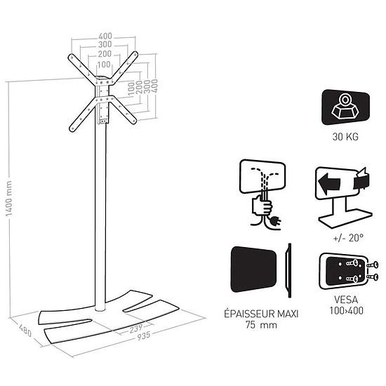 Support TV Erard Lux Up 1400L Noir (038242) - Autre vue