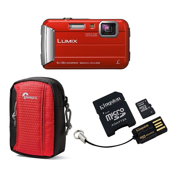 Appareil photo compact ou bridge Panasonic Lumix DMC-FT30 Rouge + Carte microSD Kingston 16 GO avec adaptateur + Lowepro Tahoe 15 II Rouge