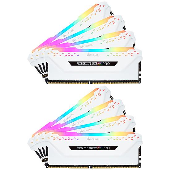 Mémoire Corsair Vengeance RGB Pro DDR4 8 x 8 Go 3200 MHz CAS 16 Blanche