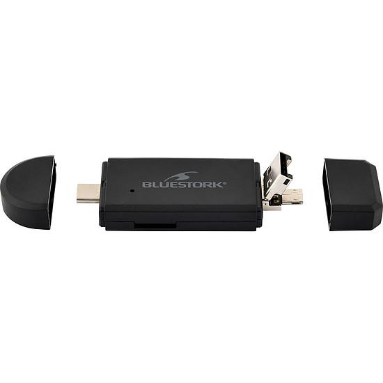 Lecteur de carte mémoire Bluestork Lecteur de cartes USB-A/USB-C/micro-USB - 2-en-1 - Autre vue