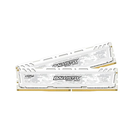 Mémoire Ballistix Sport LT DDR4 2 x 8 Go 3200 MHz CAS 16 SR Blanche