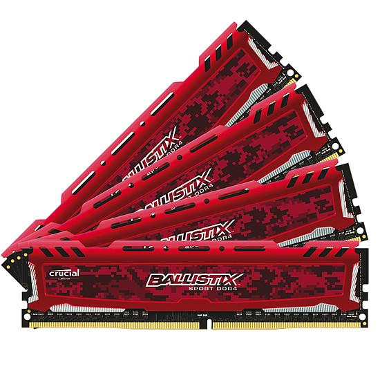Mémoire Ballistix Sport LT DDR4 4 x 8 Go 3200 MHz CAS 16 SR Rouge