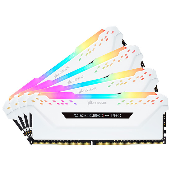 Mémoire Corsair Vengeance RGB PRO DDR4 4 x 8 Go 3600 MHz CAS 18 Blanche