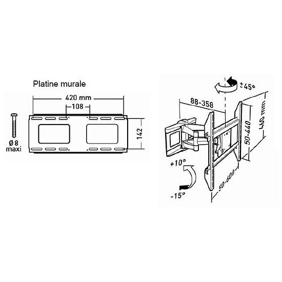 Support TV Erard MOVIK 600TW Double - Autre vue