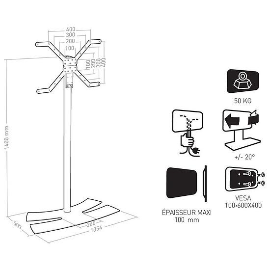 Support TV ERARD Lux Up 1400XL Blanc - Autre vue