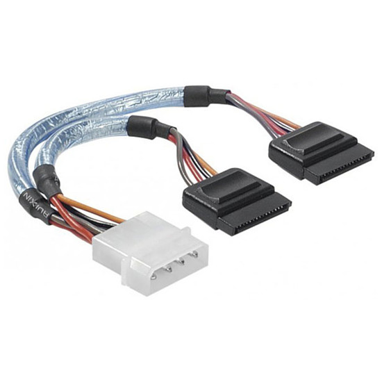 Alimentation Adaptateur d'alimentation Molex vers 2 connecteurs d'alimentation SATA